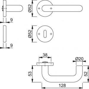 Maniglia Per Porta - Hoppe -  Baden - K138L/15/15S