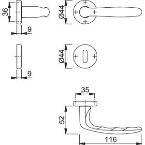 Maniglia Per Porta - Hoppe - Maribor - 1766/88K/88KS