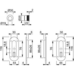 Maniglia ad Incasso Per Porta Scorrevole -  Hoppe - Kit Ovale M472