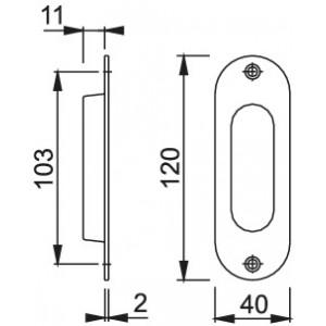 Maniglia ad Incasso Per Porta Scorrevole -  Hoppe - Ovale M429
