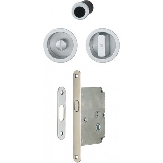 Hoppe - Sliding Door Handle - Round Set With Lock 4920