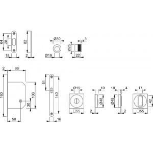 Maniglia ad Incasso Per Porta Scorrevole -  Hoppe - Kit Quadrato 4921