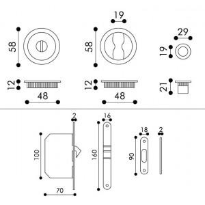 Maniglia ad Incasso Per Porta Scorrevole - Apro - Kit Tondo K001