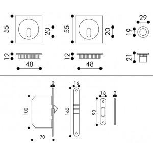 Maniglia ad Incasso Per Porta Scorrevole - Apro - Kit Quadrato K003Q
