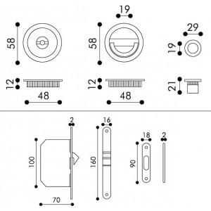 Sliding Door Handle -  Apro - Round Set K004