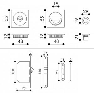 Maniglia ad Incasso Per Porta Scorrevole - Apro - Kit Quadrato K004Q