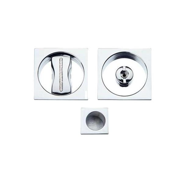 Sliding Door Handle -  Apro - Square Set K001Q - SW Crystal