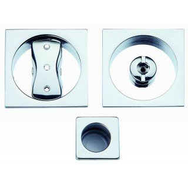 Maniglia ad Incasso Per Porta Scorrevole - Apro - Kit Quadrato K001Q- 3SW Cristallo - Produzione Italiana
