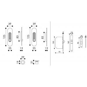 Maniglia ad Incasso Per Porta Scorrevole - Apro - Kit Ovale K001-O