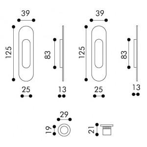 Maniglia ad Incasso Per Porta Scorrevole - Apro - Kit Ovale K002-O