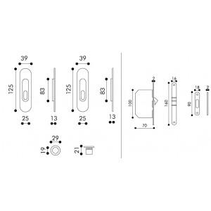 Maniglia ad Incasso Per Porta Scorrevole - Apro - Kit Ovale K003-O