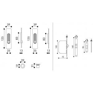 Sliding Door Handle -  Apro - Rectangular Set K001Q