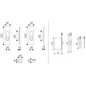 Sliding Door Handle -  Apro - Rectangular Set K003Q