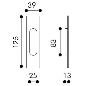Single Sliding Door Handle -  Apro - Rectangular Set KS01Q
