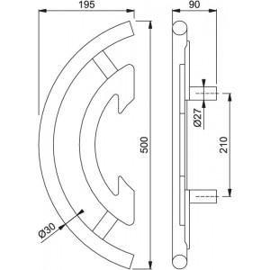 Maniglione Per Porta - Hoppe  -  Con Decorazione Wengé - E5519FD