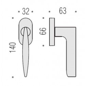 Maniglia Per Finestra - Colombo Design - Martellina Dk Flessa - CB52-DK