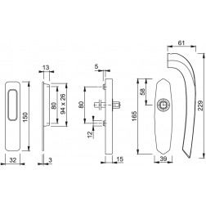 Maniglia Per Alzante Scorrevole - Monte Carlo - HS-M505/455/423