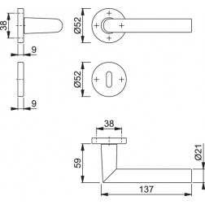 Maniglia Per Porta -  Hoppe - Amsterdam - 1400/42K/42KS