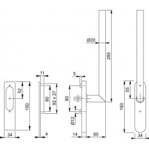 Maniglia Per Alzante Scorrevole - Amsterdam - HS-E0400Z/431N/420