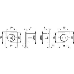 Hoppe - Maniglia Per Porta A Libro/Scorrevole - Kit Quadrato M443