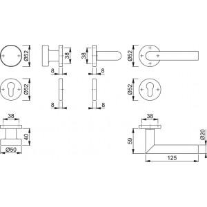Maniglia Per Porta Con Pomolo -  Hoppe - Amsterdam - E58/42K/42KS/1400Z