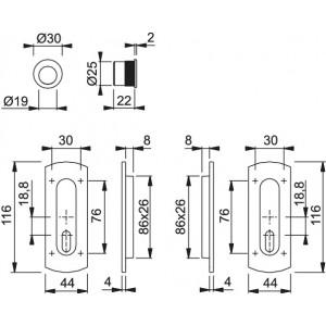 Maniglia ad Incasso Per Porta Scorrevole -  Hoppe - M463