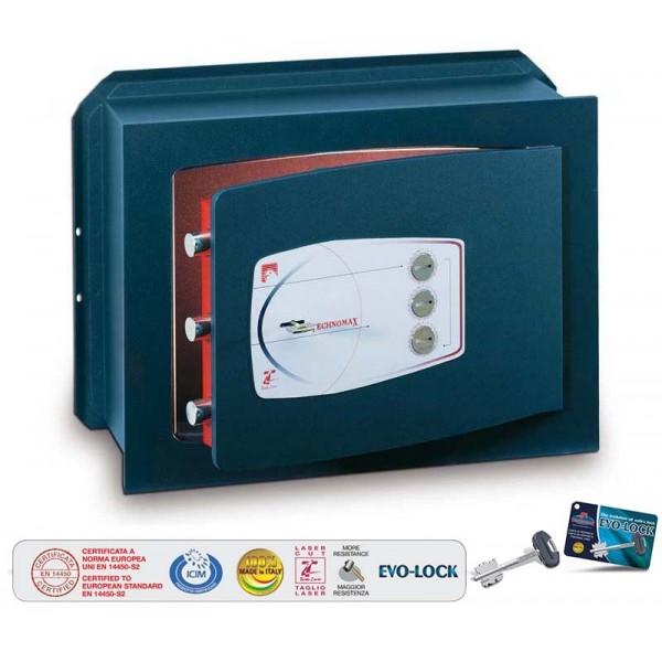 Technomax - Cassaforte a muro con chiave e combinazione - MM A210xL340xP200