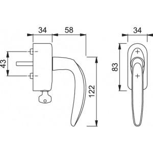 Hoppe - Maniglia Dk In Ottone Con Chiave - Per Finestra - Atlanta M1530/US950S