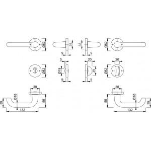 Maniglia Per Porta - Hoppe -  Paris - 138L/42K/42KS