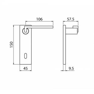 Ghidini - Maniglia Per Porta su Placca - Cartesio Q8-PQ