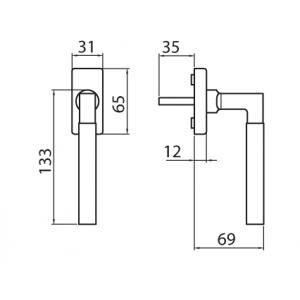 Ghidini - Maniglia Per Finestra - Martellina Dk R1230 -  Q7-40Q