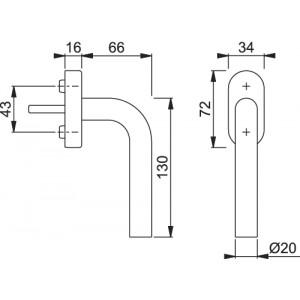 Maniglia Per Finestra - Hoppe - Martellina Dk Bonn - E050/US956