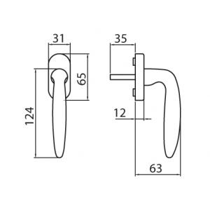 Ghidini - Maniglia Per Finestra - Martellina Dk R775 Q7-40