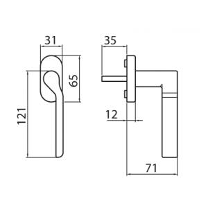 Ghidini - Maniglia Per Finestra - Martellina Dk R904 Q7-40
