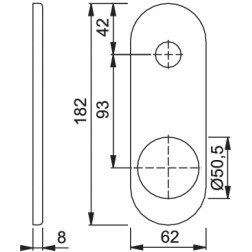 Hoppe - Back Plate For Armored Door - Double Bit Key Hole 3218-DB