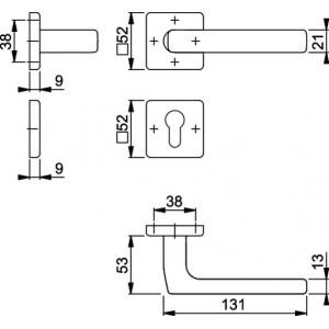 Maniglia Per Porta -  Hoppe - Dallas - E1643Z/52K/52KS