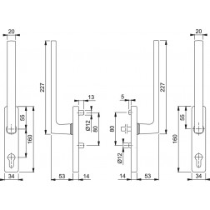 Couple Lift Slide Handles -  Hoppe - Dallas - HS-M0643/419N