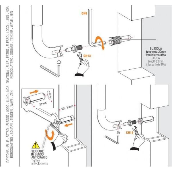 Colombo Design - Fissaggio Per Maniglione Singolo Universale - KIT NPU