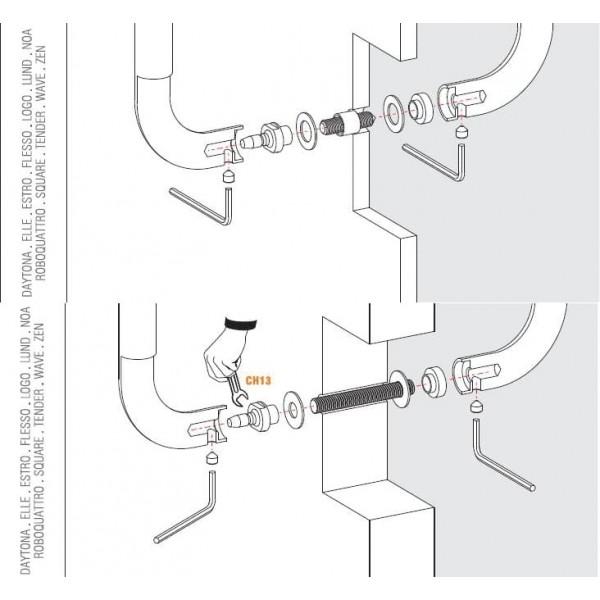 Colombo Design - Fissaggio Per Maniglione Passante Accoppiato - KIT PA