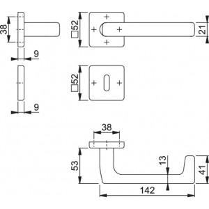 Maniglia Per Porta -  Hoppe - Detroit - E1644Z/52K/52KS
