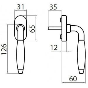 Ghidini - Maniglia Per Finestra - Martellina Dk R744 Q7-40