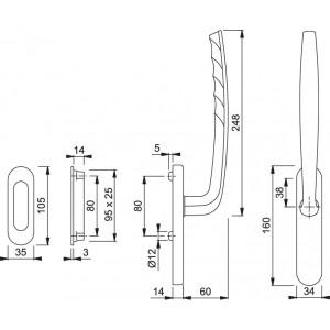 Maniglia Per Alzante Scorrevole - New York - HS-0810/431N/422
