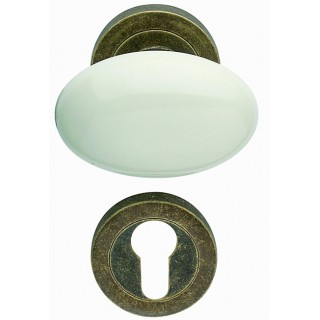Arieni - White Ceramic Door Knob - Cigno Series 108