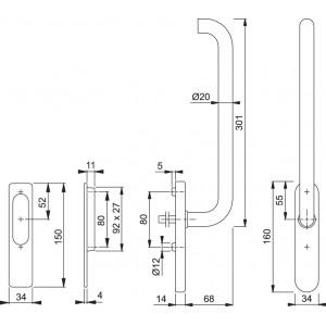 Maniglione Per Alzante Scorrevole - Paris - HS-E038Z/431N/420