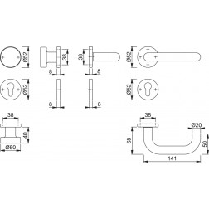 Maniglia Per Porta Con Pomolo -  Hoppe - Paris - E58/42/42KVS/138Z