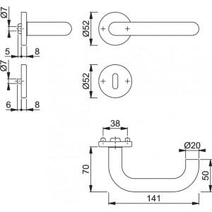 Maniglia Per Porta -  Hoppe - Paris - E138Z/42K/42KS