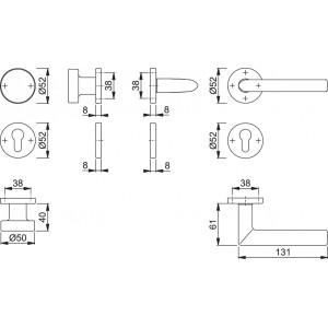 Maniglia Per Porta Con Pomolo -  Hoppe - Stockholm - E58/42/42KVS/1140Z
